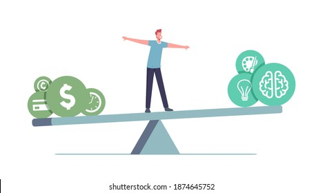 Balance at Work Concept. Tiny Male Character Balancing on Huge Seesaw with Different Values Time, Money, Finance Freedom, Hobby or Self Development, Education. Cartoon People Vector Illustration