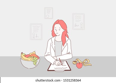Balanced diet for weight control concept. Dietitian writing healthy nutrition plan including fresh fruits to daily menu, nutritionist prescribing vegetarian diet. Simple flat vector