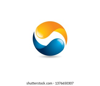 balanced recycle yingyang process loading icon with glowing and glossy effect