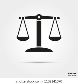 balanced scales glyph icon vector. Law enforcement and criminal justice symbol.