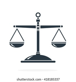 Balanced Scales of justice for law concepts.  Vector illustration scales of justice internet flat icon.  Scales Flat Internet Icon.