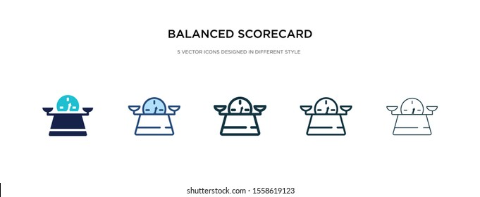 balanced scorecard icon in different style vector illustration. two colored and black balanced scorecard vector icons designed in filled, outline, line and stroke style can be used for web, mobile,