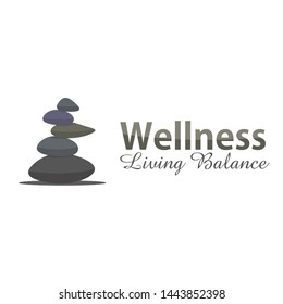 balanced stone logo concept for wellness yoga company