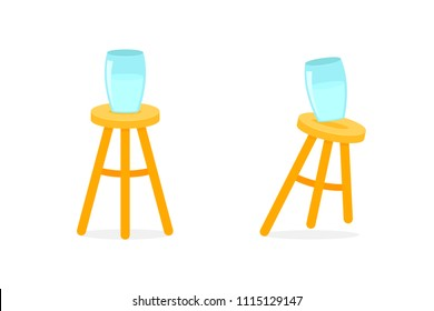 Balanced and unbalanced three legged stool. Clipart image isolated on white background