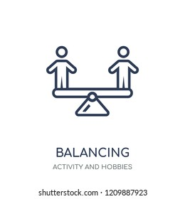 Balancing icon. Balancing linear symbol design from Activity and Hobbies collection. Simple outline element vector illustration on white background.