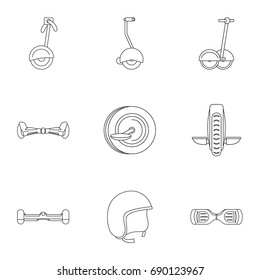 Balancing scooter icon set. Outline style set of 9 electric scooter vector icons for web isolated on white background