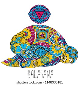 Balasana. A pose in yoga that opens the Ajna chakra. Silhouette decorated in the style of Indian mehndi.