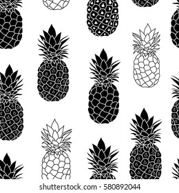Balck and White Pineapples Vector Repeat Geometric Seamless Pattrern. great for fabric, packaging, wallpaper, invitations.
