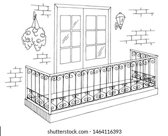 Balcony exterior graphic black white sketch illustration vector