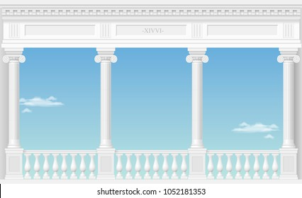 Balcony of a fabulous palace in classical style with a view of the cloud landscape. Vector graphics