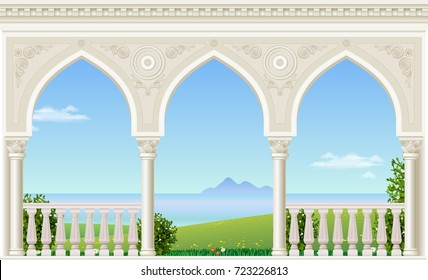 Balcony of a fabulous palace in classical style with a view of the sea landscape. Vector graphics