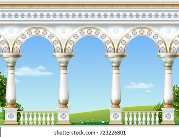 Balcony of a fabulous palace in eastern classical style with a view of the green landscape. Vector graphics