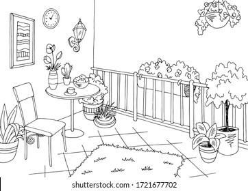 Balcony garden graphic black white interior sketch illustration vector