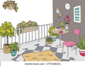 Balcony garden graphic color interior sketch illustration vector