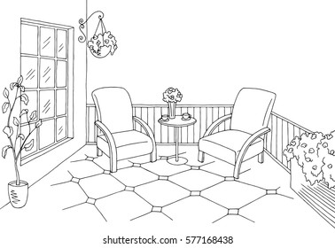 Balcony graphic black white interior sketch illustration vector