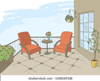 Balcony graphic color interior sketch illustration vector