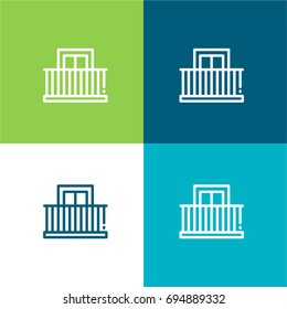 Balcony green and blue material color minimal icon or logo design