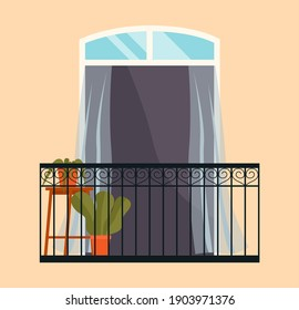 Balcony with iron fence with patterns. Large window with potted plants vector illustration. Window overlooking the street with the plant in pot inside. Balcony isolated on the wall of the building