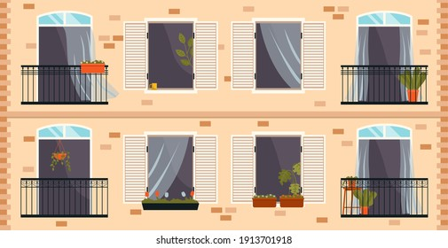 Balcony with iron fence with patterns. Large window with potted plants a set of illustrations. Window overlooking the street with the plant in pot inside. Balcony isolated on the wall of the building
