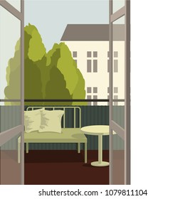 Balcony. Summer in the city. Vector illustration.