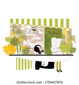 balcony. terrace. vector image of a residential balcony with plants and animals