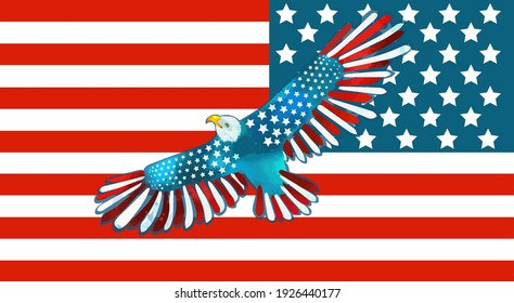 Bald American eagle and USA flag. US Independence Day. Vector illustration