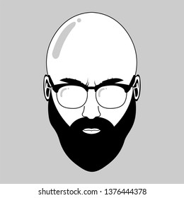 Bald Beard Man Vector Illustration Using Glasses. Black White Theme.