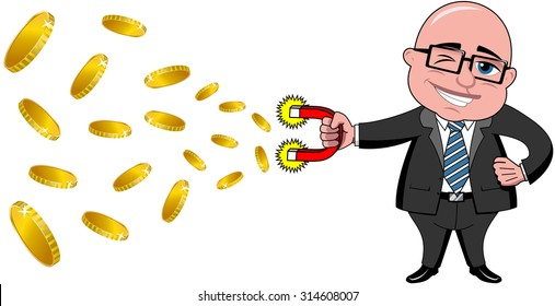 Bald cartoon businessman holding magnet collecting money isolated