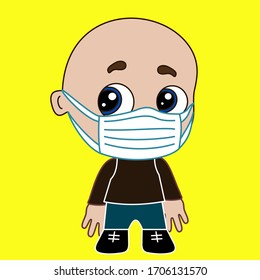 a bald, chibi boy has a medical personnel wearing surgical mask on his face, hand drawn emoticon, cartoon character