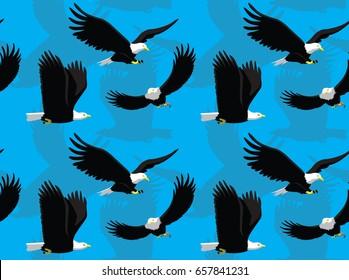 Bald Eagle Flying Cartoon Seamless Wallpaper