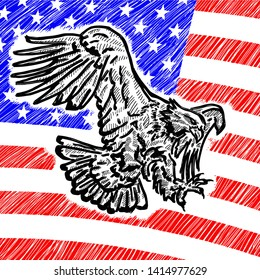 A bald eagle flying over a United States of America flag. Hand drawn vector illustration.