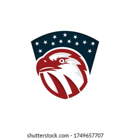 Bald eagle head logo design template. Awesome a bald eagle head with shield logo. A bald eagle head & US flag logotype.