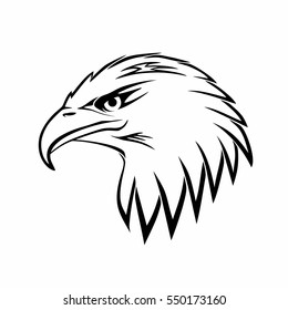 Bald eagle head logo. Hawk vector icon isolated on white background. Bird tattoo.