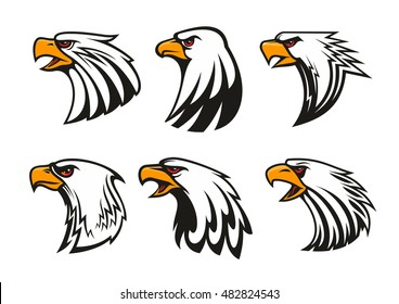 Bald Eagle icons set. Vector emblems of hawk with beak, harsh crying, furious glance. Falcon label for team mascot shield, badge, sport, guard, club identity label