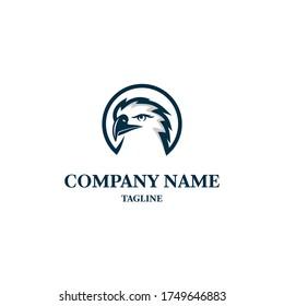 Bald eagle logo design template. Awesome a bald eagle lineart logo. A bald eagle with circle logotype.