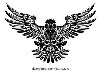 Bald eagle mascot swooping with claws out and wings spread