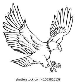 Bald Eagle silhouette isolated on white. Hand drawn sketch of an american eagle. This vector illustration can be used as a print on T-shirt, tattoo element or other uses
