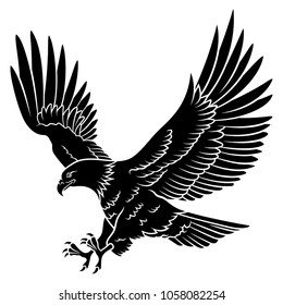 Bald Eagle silhouette isolated on white. This vector illustration can be used as a print on T-shirt, tattoo element or other uses