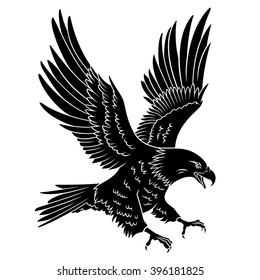 Bald Eagle silhouette isolated on white. This vector illustration can be used as a print on T-shirts, tattoo element or other uses