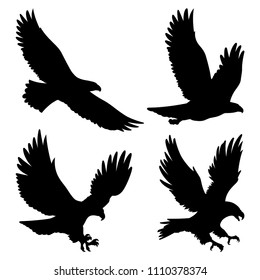 Bald Eagle silhouettes isolated on white. This vector illustration can be used as a print on t-shirts, tattoo element or other uses