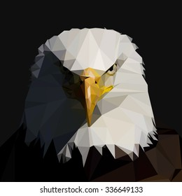 Bald  Eagle in the style of low-poly. Vector illustration