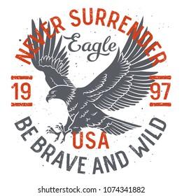 Bald Eagle t shirt design. Slogan typography, vintage t-shirt graphics, vectors