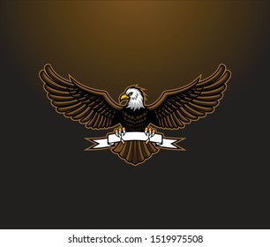 bald eagle wings open vector, eagle with ribbon
