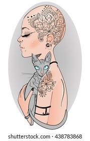 bald girl with cat