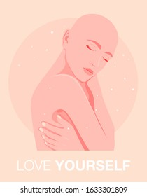 Bald girl hugs herself. Alopecia and self-acceptance. Love and support. Postcard. Vector flat illustration