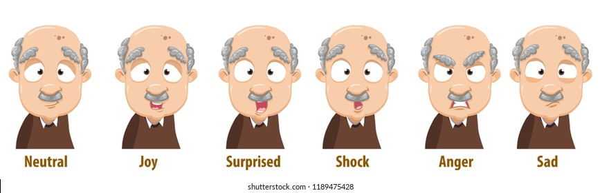 Bald grandfather with various facial expressions. Avatars with neutral, joy, surprise, shock, anger and sad emotions. Aged man with mustache icons. Grandparent in cartoon style vector illustration.