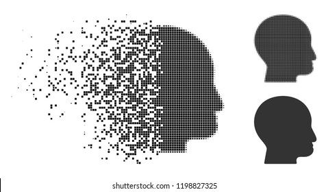 Bald head icon in disappearing, dotted halftone and undamaged solid variants. Pixels are grouped into vector disappearing bald head icon. Disintegration effect uses rectangle points.