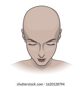 Bald head of a woman or a monk on a white background