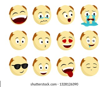 bald head young emoticons with some expressions