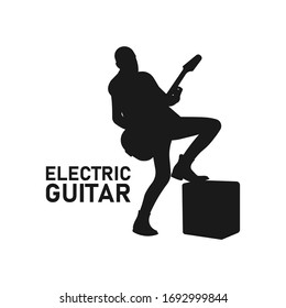 Bald male heavy metal hard rock guitarist playing electric guitar silhouette. Rock N' Roll concert concept. Rockstar symbol. Band icon. Instrument sign. Musician logo - Simple vector illustration.